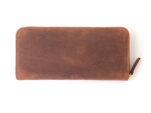 画像1: [クレイジーカーフレザー]スマートラウンドファスナー長財布
